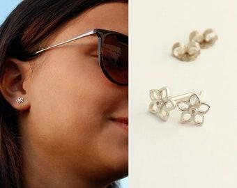 Silver Stud Earrings Flower Stud Earrings Sterling Silver Stud Earrings Bridesmaids Earrings Silver