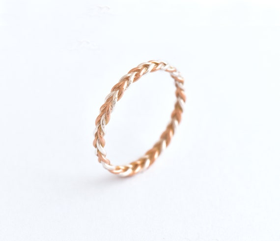 Two Tone Ring Silver And Rose Gold Wedding Band Women Solid Etsy