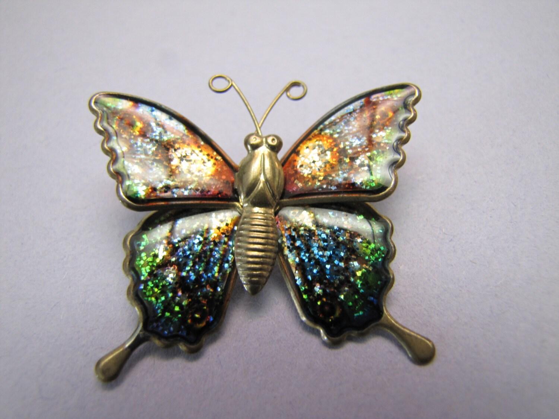 Brass Tone Butterfly Brooch Sparkled Glitter Multicolored Enamel