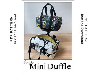 Simple Mini Duffle Sewing Pattern - PDF Instant Download