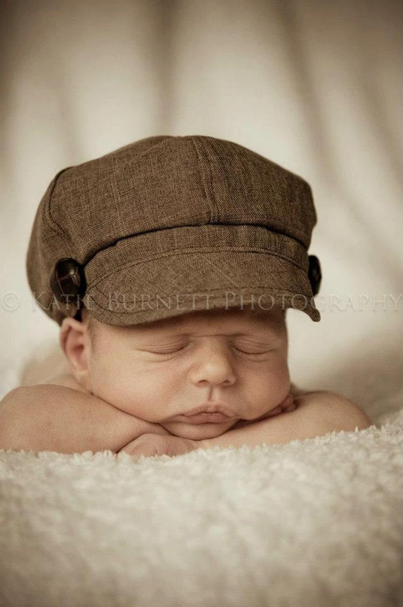 0e47427b604 Newborn Newsboy Hat Baby Boy Toddler Infant Cap brown fabric