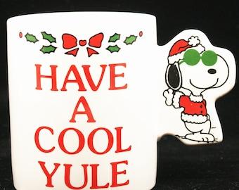 Snoopy Peanuts Coffee Mug Have a Cool Yule Christmas Holiday Novelty Ceramic