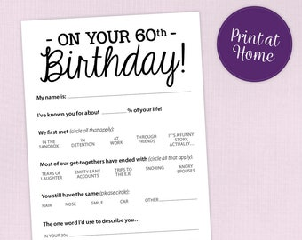 60th Birthday Party Game Card Funny Milestone Printable PDF