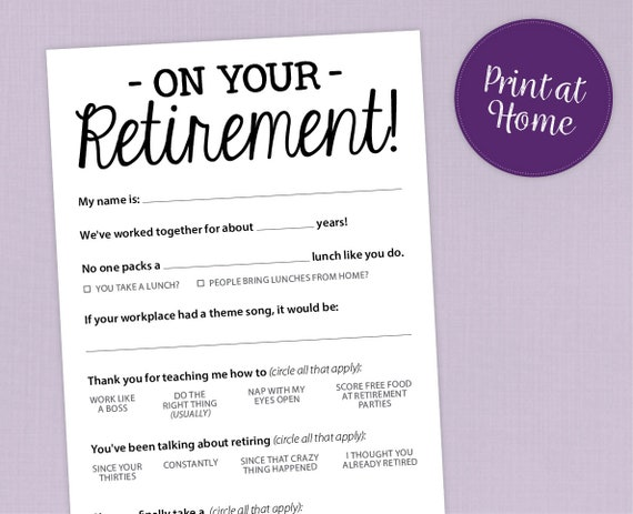 graphic relating to Retirement Party Games Free Printable known as Enjoyment Retirement Celebration Video game, Printable PDF Card