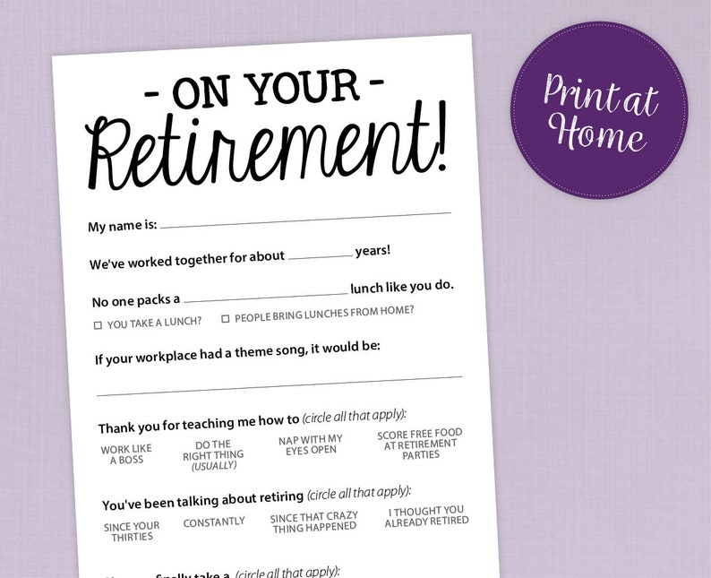 photo about Free Printable Retirement Cards Funny identified as Exciting Retirement Get together Activity, Printable PDF Card
