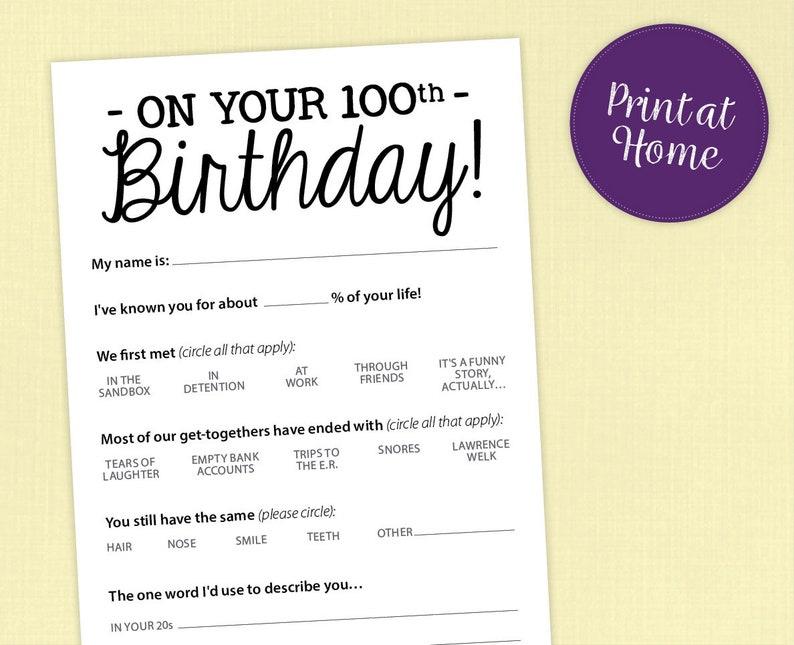 100th Birthday Party Game Card Funny Milestone Printable Pdf