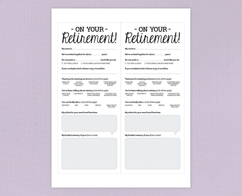 image relating to Retirement Party Games Free Printable identified as Enjoyable Retirement Celebration Activity, Printable PDF Card