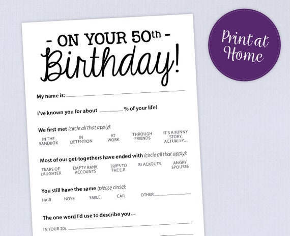 It is a graphic of Printable 50th Birthday Cards pertaining to instant download