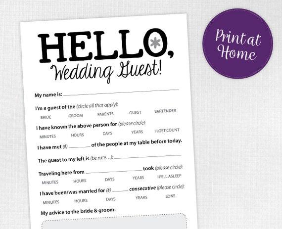 funny wedding reception icebreaker cards entertain your etsy
