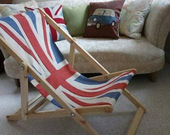 Union Jack Flag Deck Chair Recliner Folding Timber Frame Bye Brytshi