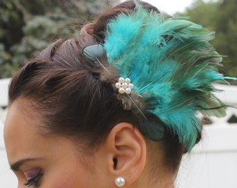 Teal and Green Rooster Feather Hair Comb Clip