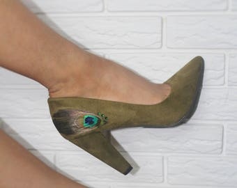 e299454623dc Olive Green Peacock Pumps