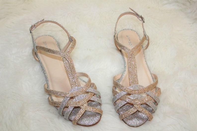0f31bb080d1a30 Gold and silver glitter flats sandals wedding shoes beach