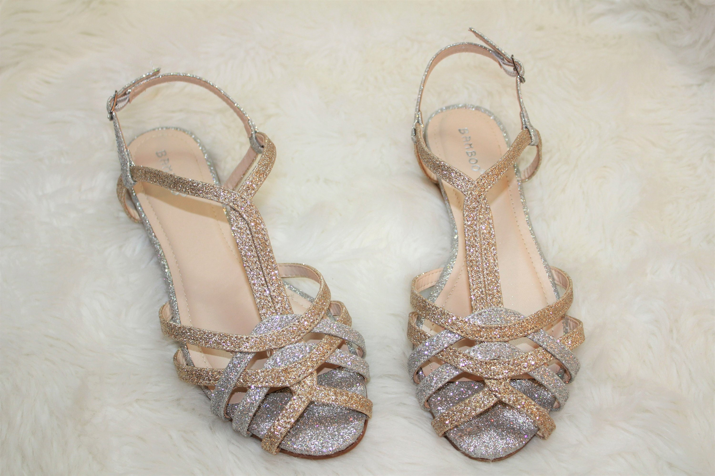 Gold and silver glitter flats sandals wedding shoes beach  1b7b386f5
