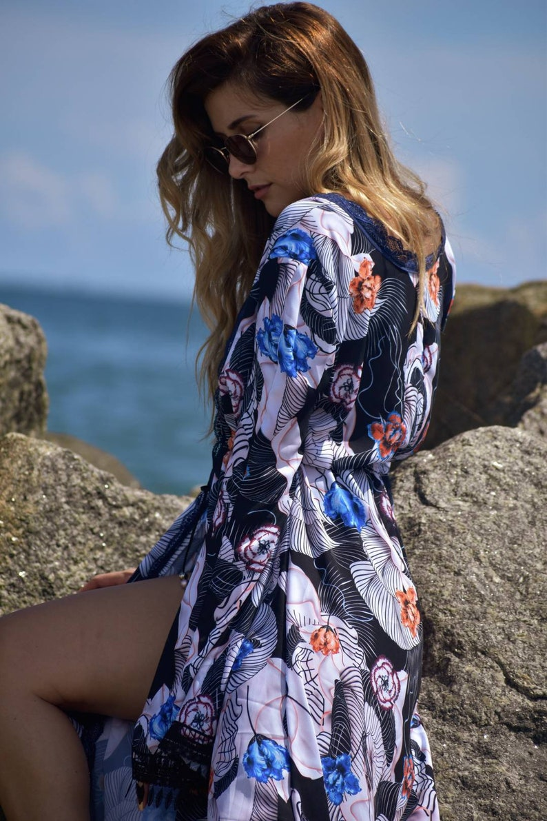 Swimsuit Cover Dressing Gown Chiffon Robe Long Robe With Train Elegant Robe Lingerie Silky Chiffon Robe Multi Color Chiffon Cover Up