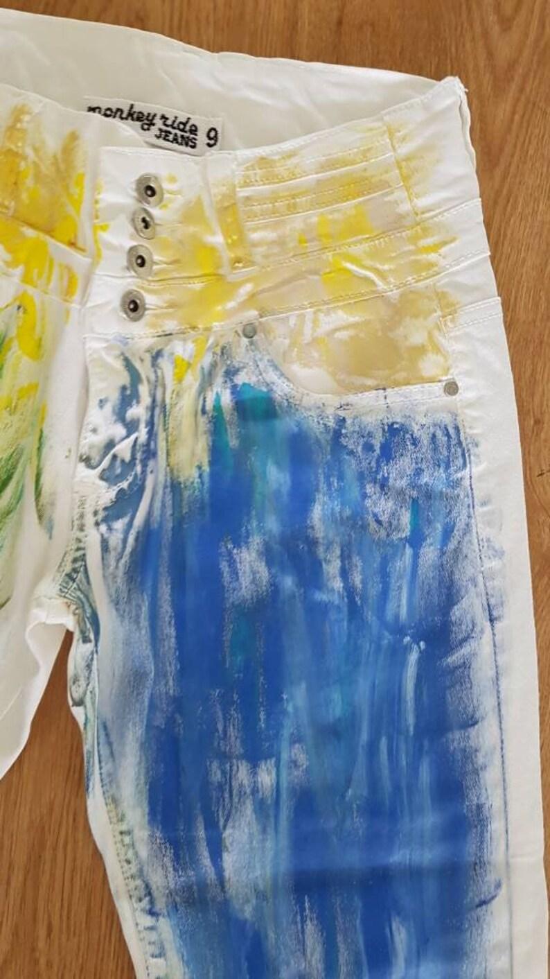 Women/'s Painted Denim Jean Unique Hand Painted Pants Bell Bottom Pants High Waist Pants Boho Hippie Hand Painted Jeans Bohemian pants