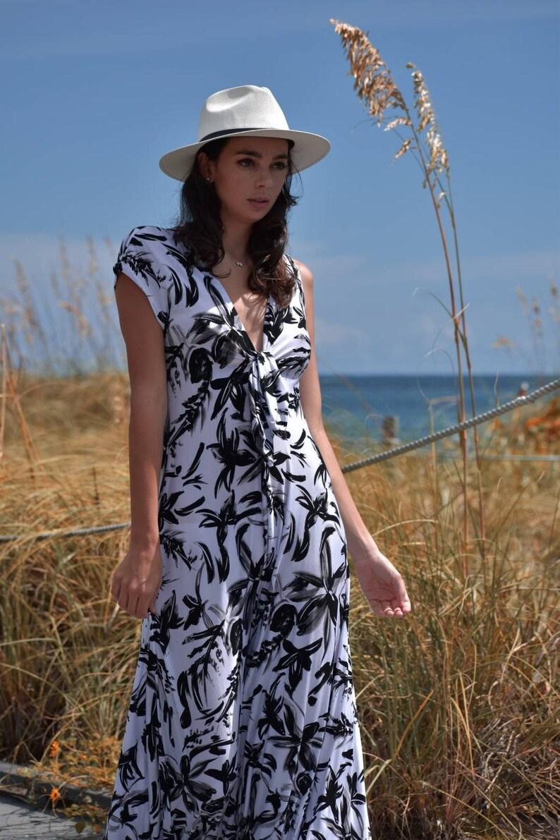 Boho Strandkleid mit kurzen Ärmeln Maxi-Kleid für Frauen ...