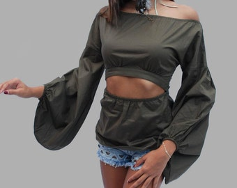 Off Shoulders Top/ Olive Goddess Top/ Long Sleeve Top/ Bohemian Tunic/ Hippie/ Loose Top/ Party Top/ V Neck/ Low Cut/ Sexy Blouse/ Crop Top