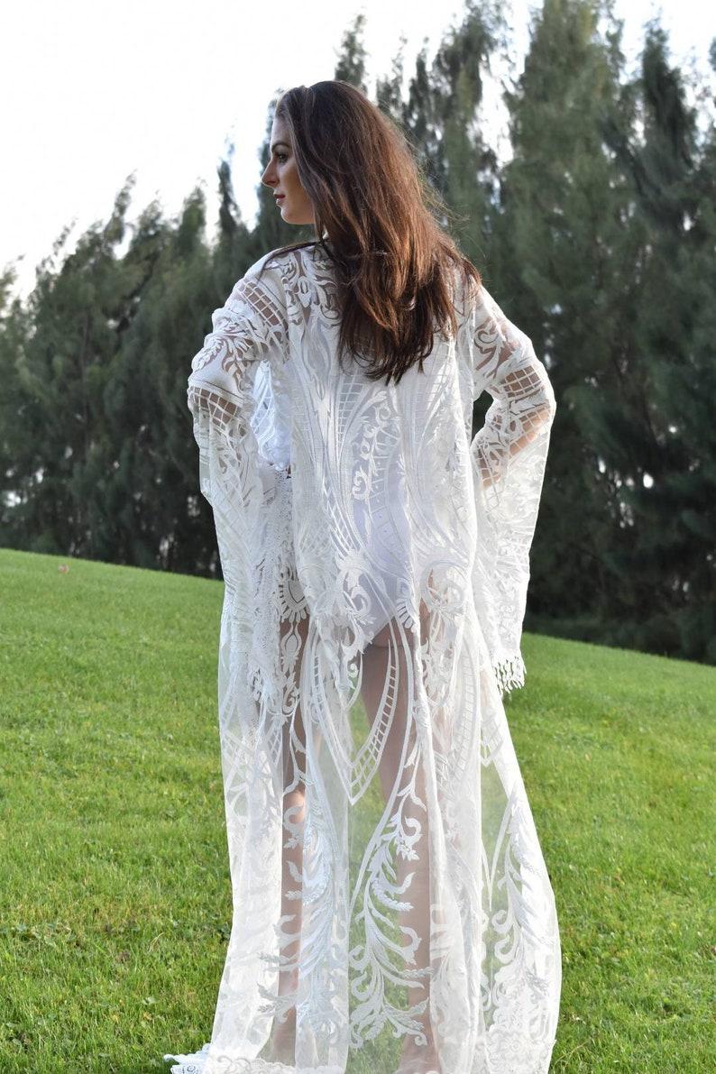 Dresses for Women White Lace Evening Gown Lace Kimono White Lace Kimono Bridal Robe Beach Wedding Dress Bridal kimono robe