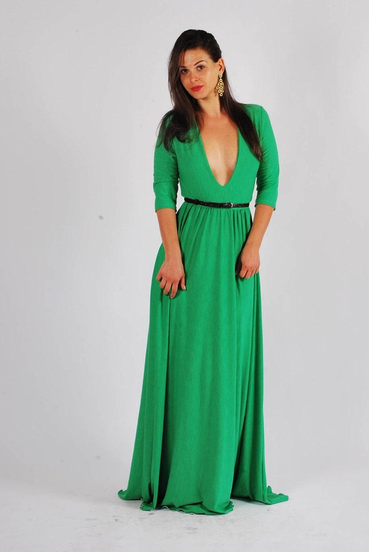 4888532417345 Women's Long Deep V Neck Lycra Gown/ Long Bodycon Dress/ | Etsy