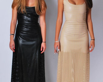 Women's Sleeveless Perforated Faux Leather Maxi Dress