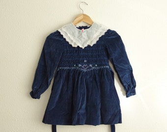 e94ae3f6fda1 Polly Flinders 100% Cotton Blue Velvet Smocked Dress w/ Buttons Down Back  Size 6X | Style H 6991