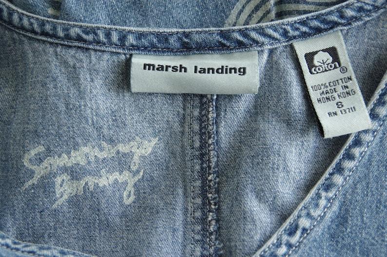 Hand Printed by Samantha Burns of SomethingsBurningInk 1990s Marsh Landing Denim Sleeveless Dress S