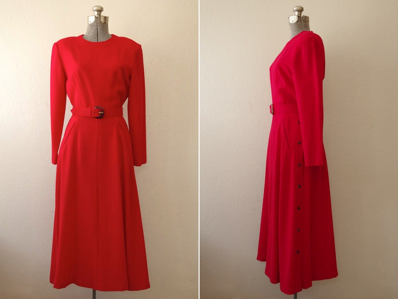 e58af28b1da Talbots Sara Campbell 100% Wool Red Long Sleeve Midi Dress w
