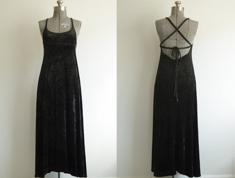 efd32b6d401 1990s Express Tricot Black Velvet Cross Strap Maxi Dress Size