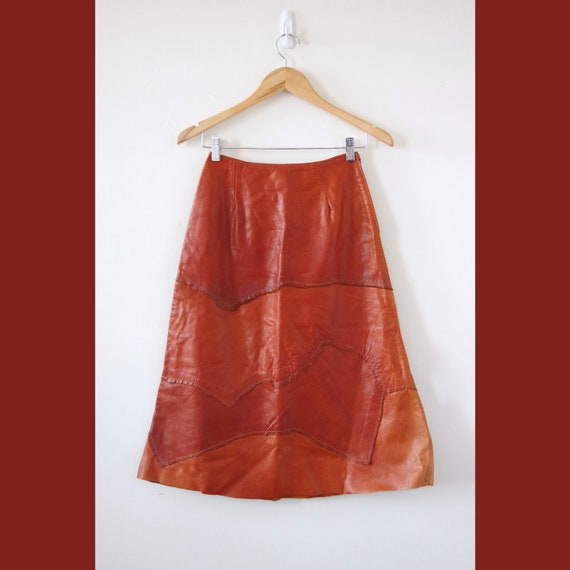 1970s Leather Patchwork A-Line Midi Skirt Size 7/8