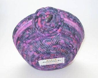 Purple Fabric Basket - Small Fabric Bowl - Handmade Home Decor