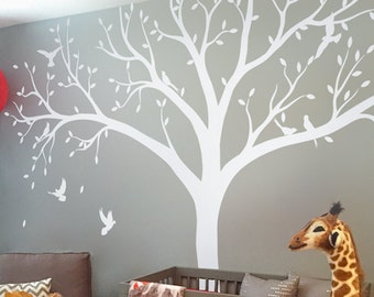 White Tree Wall Decal Nursery Tree Wall Decals Huge Tree mural Sticker Removable Vinyl Wall Decal Whimsical Wall Art - KC061
