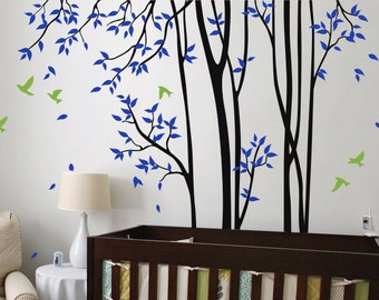 "Baby Nursery Wall Decals - Birch Trees Decal - Skinny Trees Wall Decal - Tree Wall Decals - Vinyl Mural - Large: approx 95"" x 89"" - KC047"