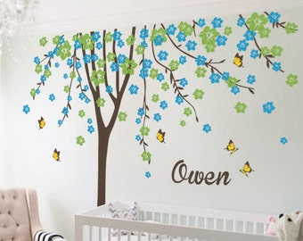 "Baby Nursery Wall Decals - Cherry Blossom Tree Wall Decal - Tree Decal - Butterfly Decal - Large: approx 113"" x 93"" - KC023"