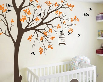 """Baby Nursery Wall Decals - Tree Wall Decal - Tree Decals - Birdcage Decal - Wall Mural Stickers - Large: approx 95"""" x 89"""" - KC050"""