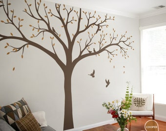 Large Tree Wall Decals Nursery Trees Decals Huge Tree mural Sticker Vinyl Wall Decal Whimsical Wall Art - KC061
