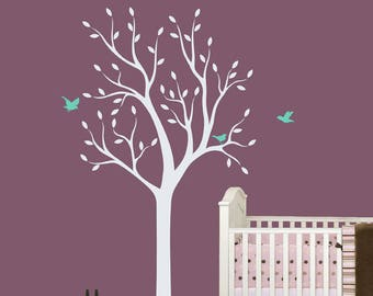 "White Tree Wall Decal Baby Nursery Wall Decals Tree Wall Mural Wall Art Sticker Wall Decoration - Large: approx 75"" x 38"" - W013"