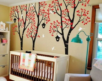 "Baby Nursery Wall Decals - Birdhouse Trees Decal - Tree Wall Decal - Tree Wall Decals - Tree Wall Decal with Deer - Large:96"" x 100"" - KC027"