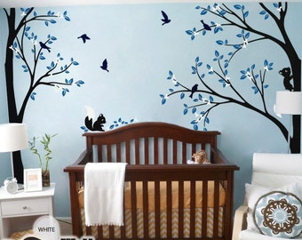 Tree Wall Decal -  Nursery Wall Decoration - Tree Wall Sticker - Corner Tree decal - Set of Two trees - KC026