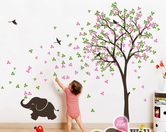 "Baby Nursery Wall Decals - Tree Wall Decal Elephant Decal Decor Tree Wall Mural Sticker Decoration - Large: approx 83"" x 53"" - KC033"