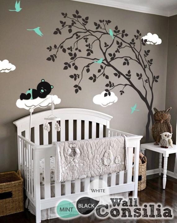 Bébé chambre de bébé stickers muraux - arbre sticker mural - arbre sticker  - Teddy Decal - grand : environ 79 \