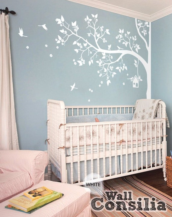 Wandtattoo Kinderzimmer Wand Dekor Weiss Baum Wandbild Etsy