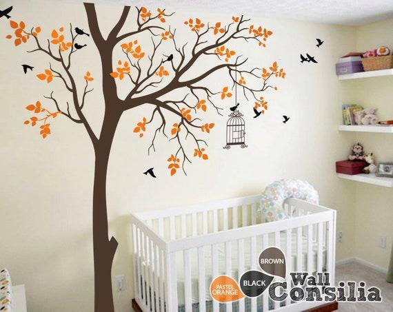 Bébé arbre Stickers muraux chambre d'enfant avec la décoration de la cage à  oiseaux mur murale Stickers muraux Grand - Large : environ 95 \