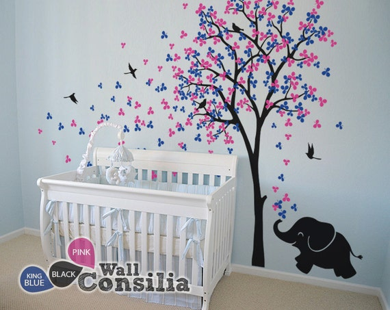 Baby Nursery Wall Decals Tree Wall Decal Elephant Decal | Etsy