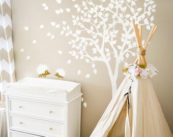 "White Tree Wall Decal Nursery Wall Decal - Large Kids Room Wall Decor mural sticker Wand Tattoo - Large: approx 79"" x 85"" - KC004"