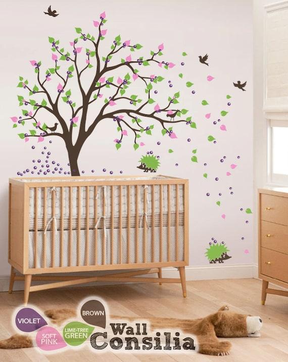 Baby Kinderzimmer Wandtattoos - Baum Wandtattoo Wand Wandbild Kinderzimmer  Deko Igel Aufkleber Dekor - groß: ca. 83 \
