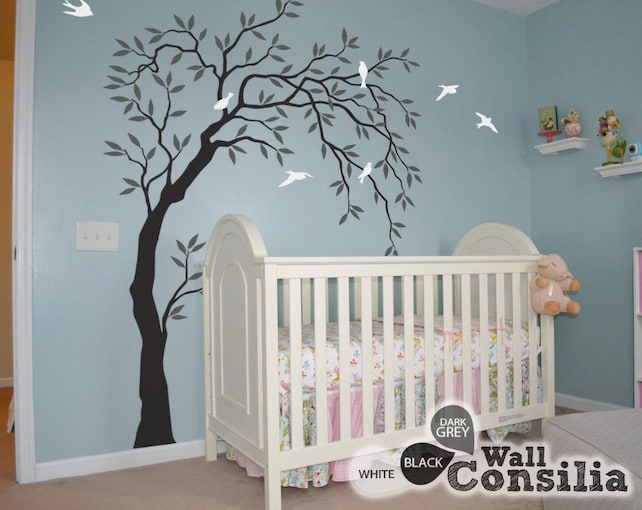 Nursery Tree Wall Decals Willow Tree sticker Large Wall Art | Etsy