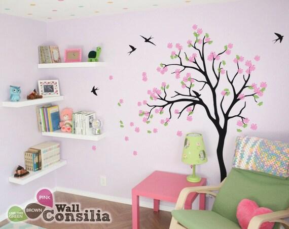 Bébé stickers muraux chambre d'enfant - fleur arbre sticker - arbre Wall  Decal - stickers muraux arbre - arbre sticker mural avec des oiseaux -  grande ...