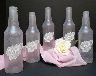 Pink Bottle Vases Lace Applique & Rhinestones, Pale Pink Spotted Sea Glass, Pink Wedding Quinceanera Bottle Vases, Upcycled Bottle Lot of 5