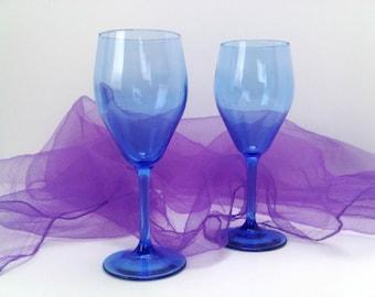 Indigo Blue Violet Hue Petite Romantic Mimosas for 2 Wine Glasses Stemware Pair Blue Champagne Glasses, Trending Vintage